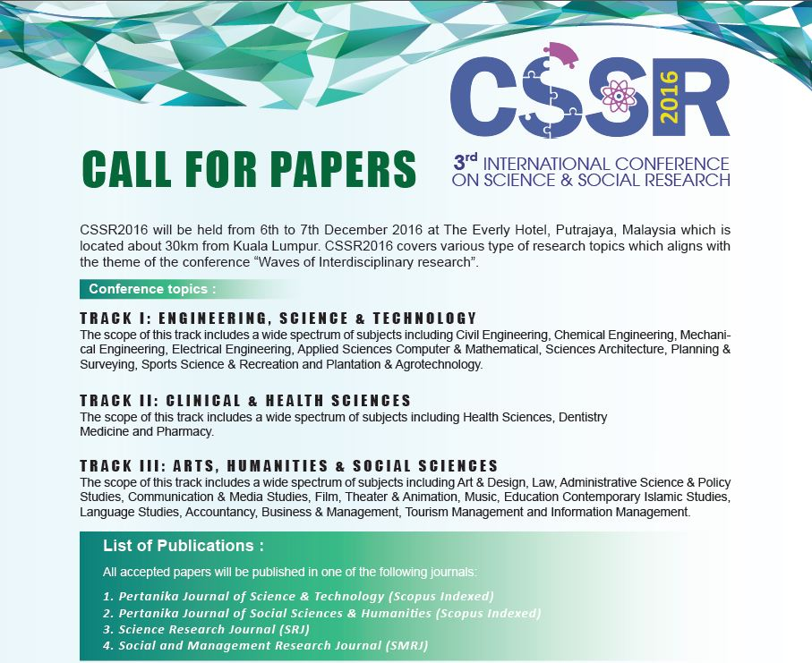 3rd International Conference on Science and Social Research (CSSR2016)